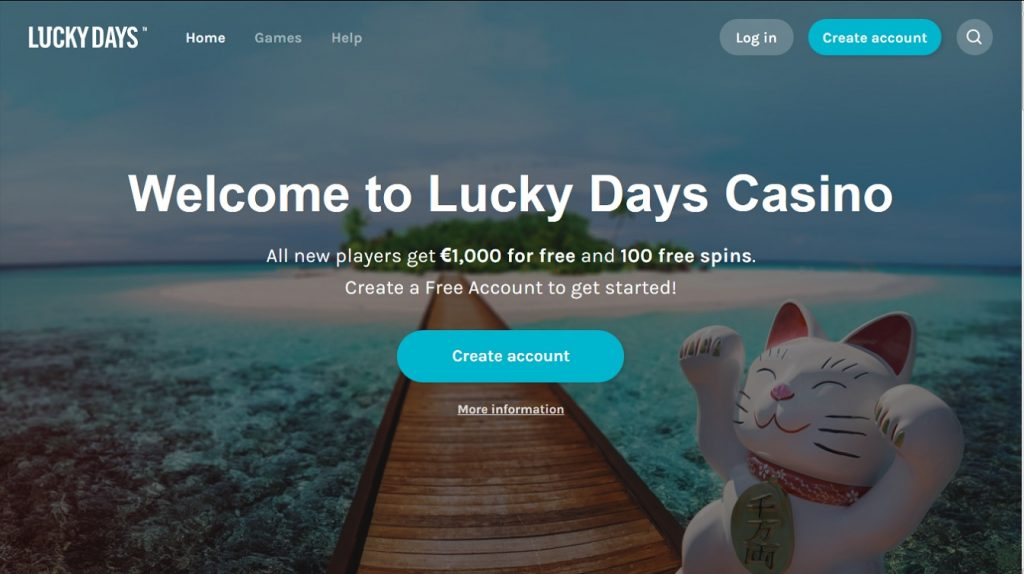 screenshot Lucky Days casino homepage